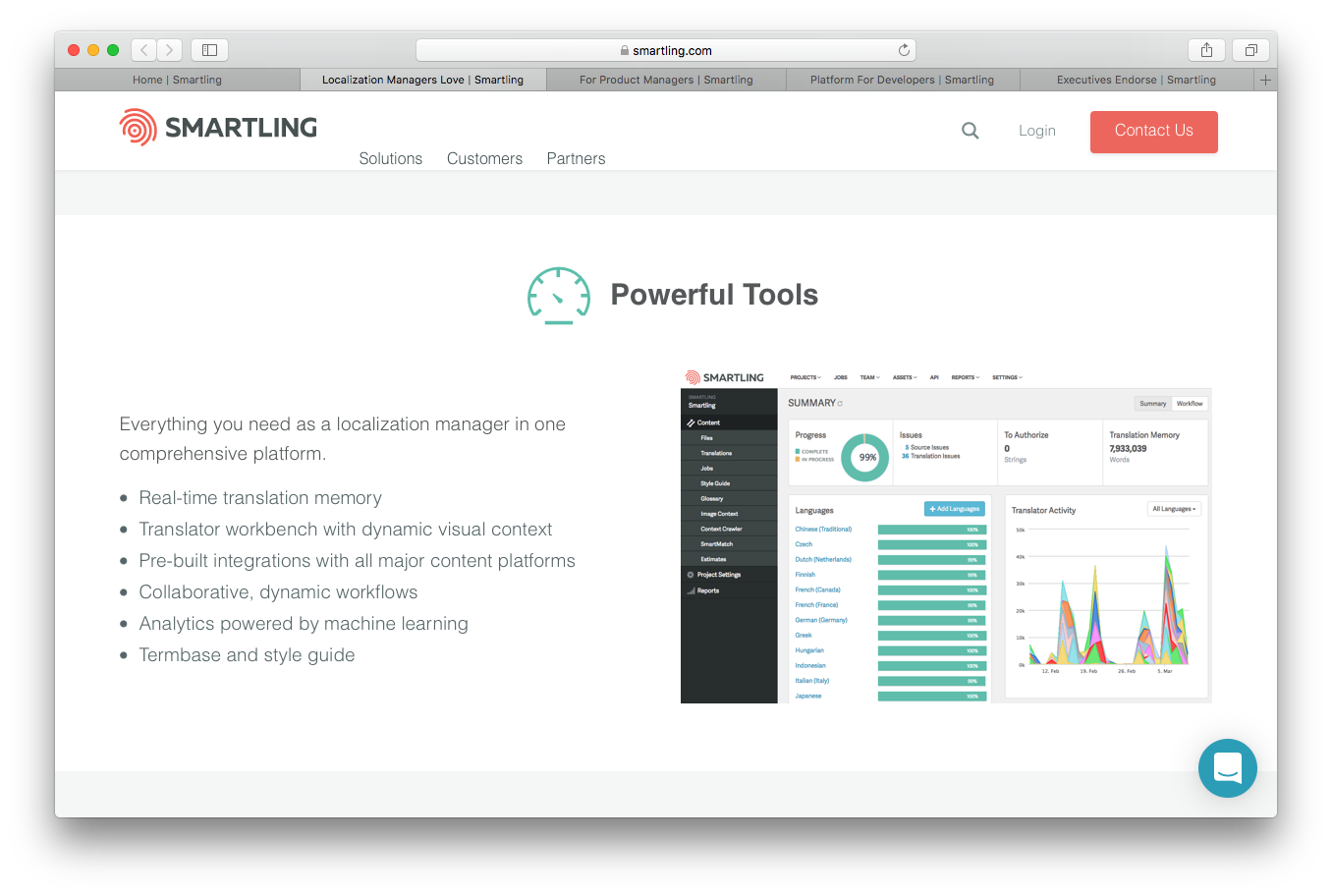 Smartling solutions screenshot localization managers powerful tools real time translation memory dynamic visual concept integration collaborative dynamic workflows marine learning analytics