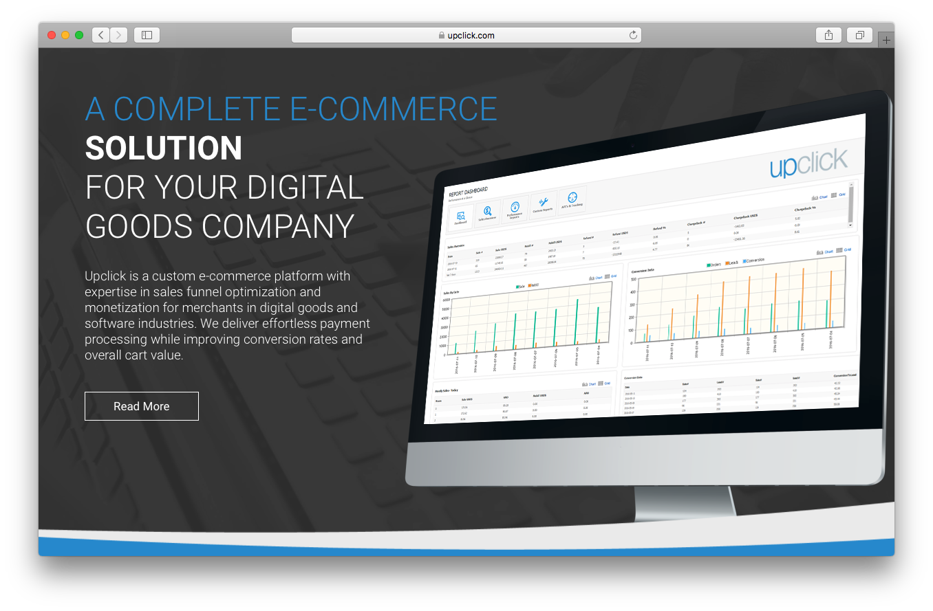 Upclick homepage screenshot complete ecommerce solution digital goods company sales funnel optimisation monetization digital goods software industry