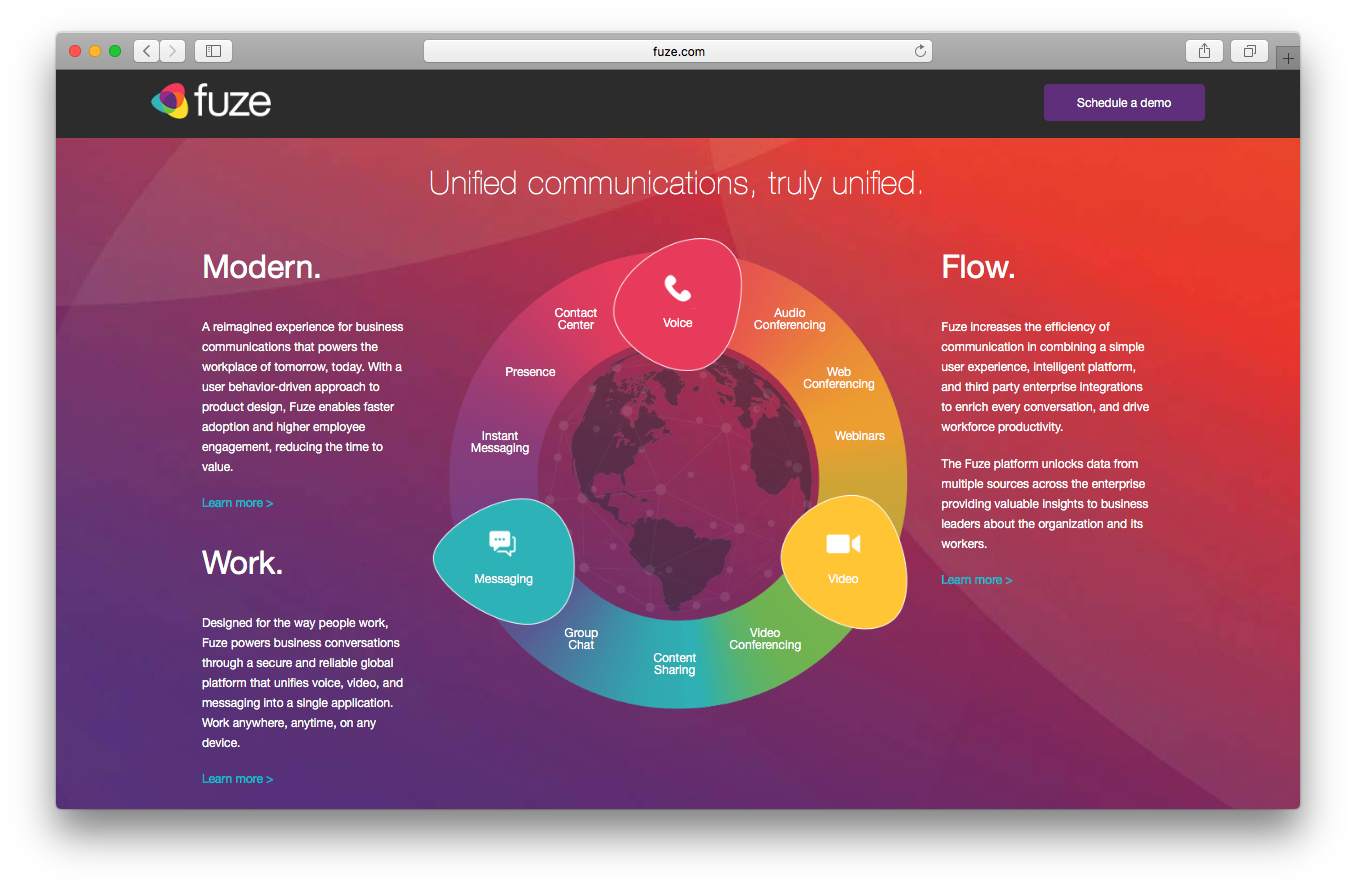 Fuze voice homepage screenshot unified communication modern work flow voice messaging video
