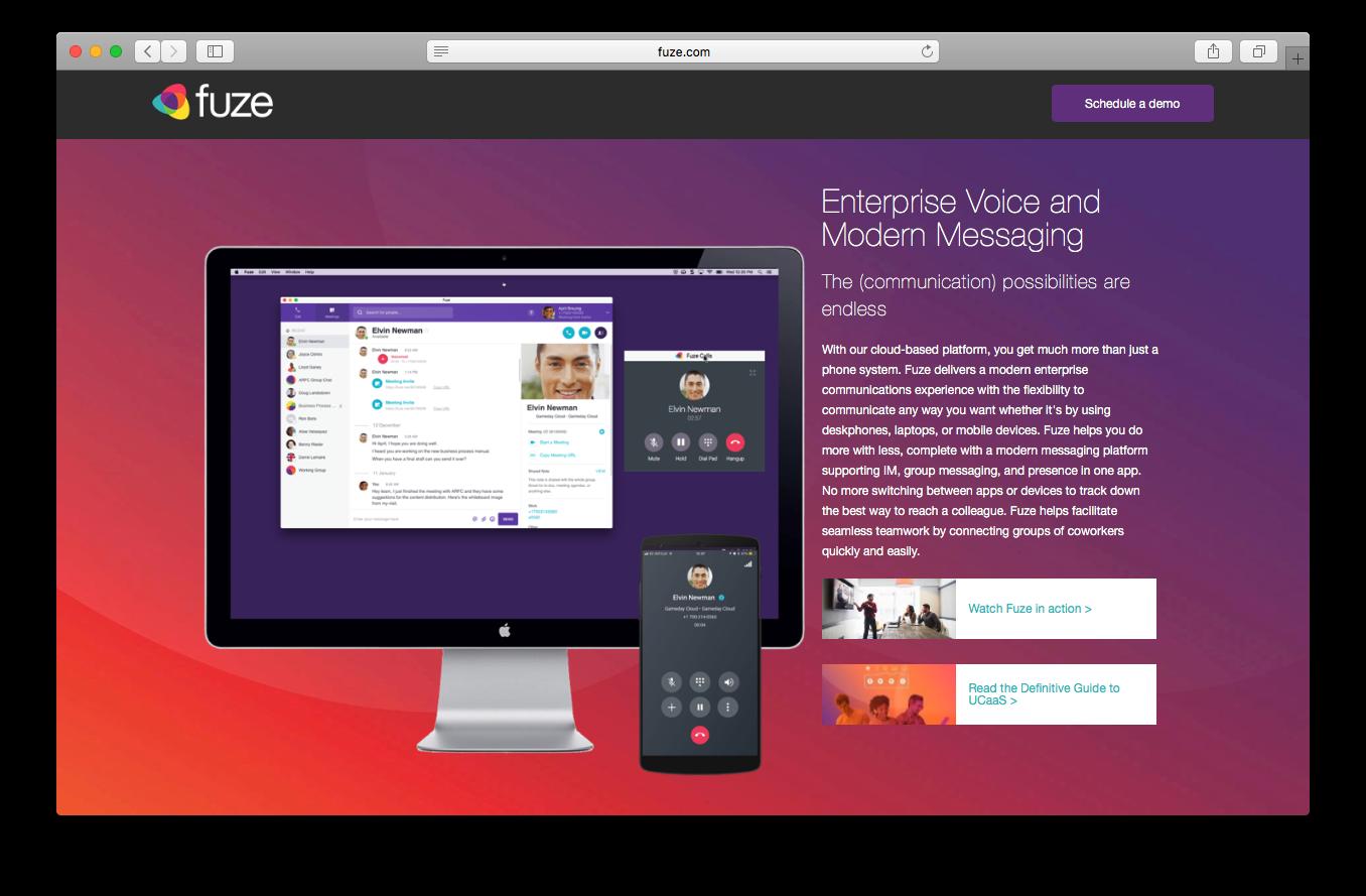 Fuze voice enterprise voice modern messaging webpage screenshot cloud based communication platform phone system