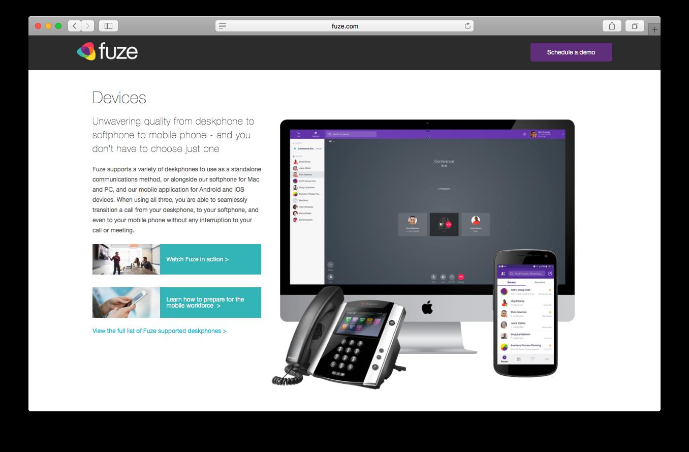 Fuze voice enterprise voice devices webpage screenshot desk phone soft phone mobile phone communication