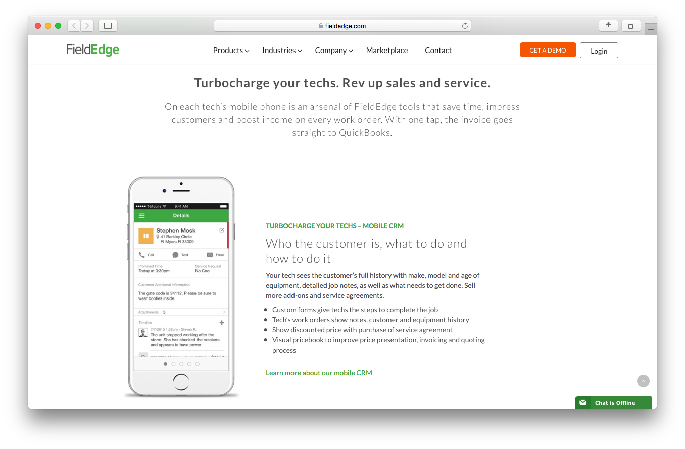 FieldEdge products webpage screenshot field service management connect turbocharge techs mobile crm