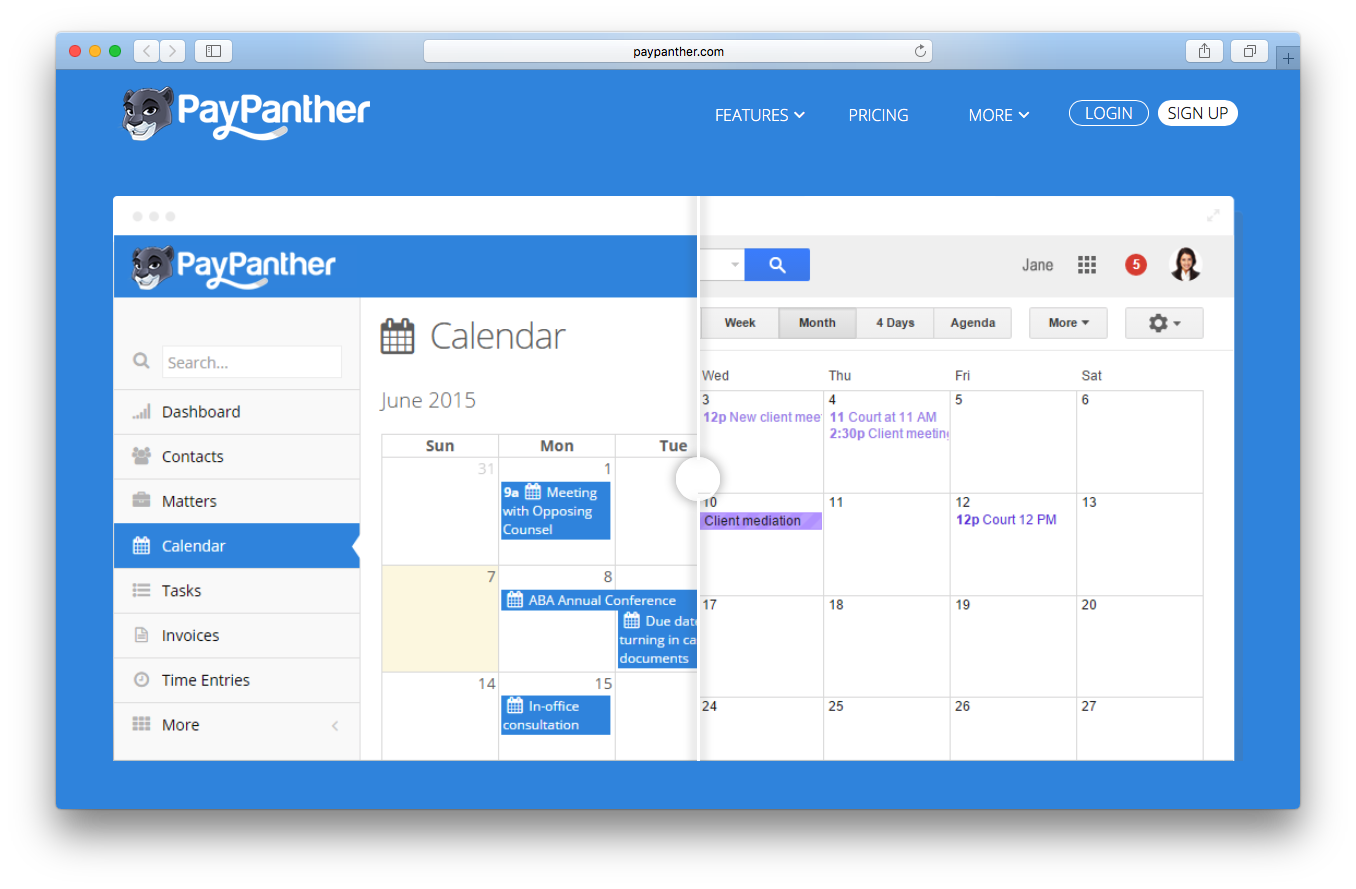 Paypanther integrations webpage screenshot calendar