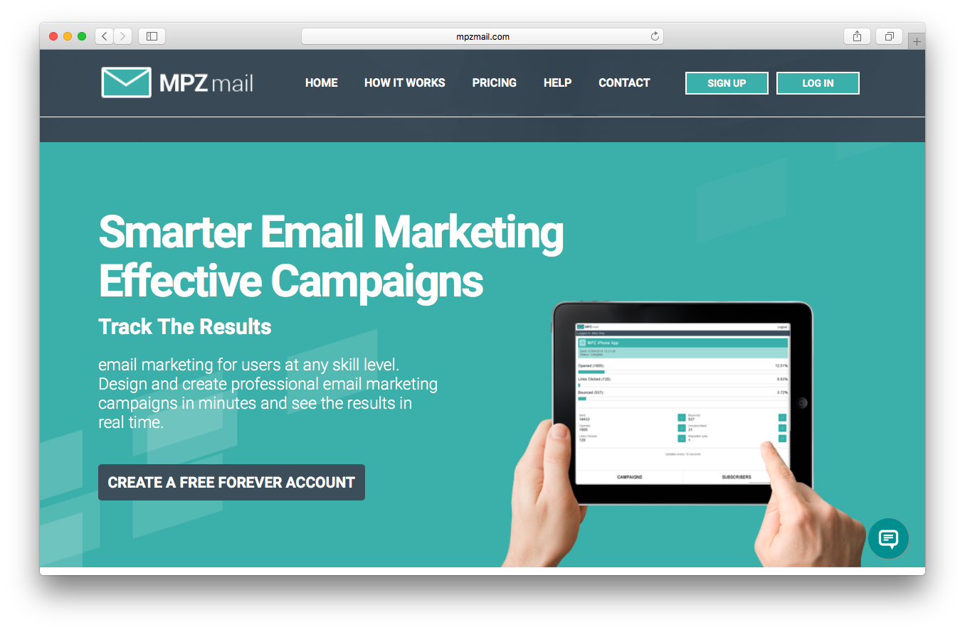 MPZMail homepage screenshot smarter email marketing effective campaigns track results