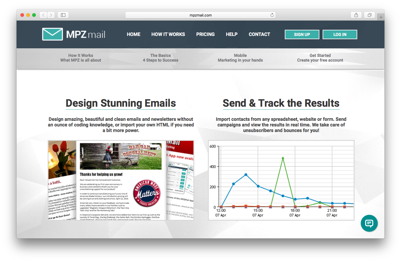 MPZMail features webpage screenshot design emails send and track results
