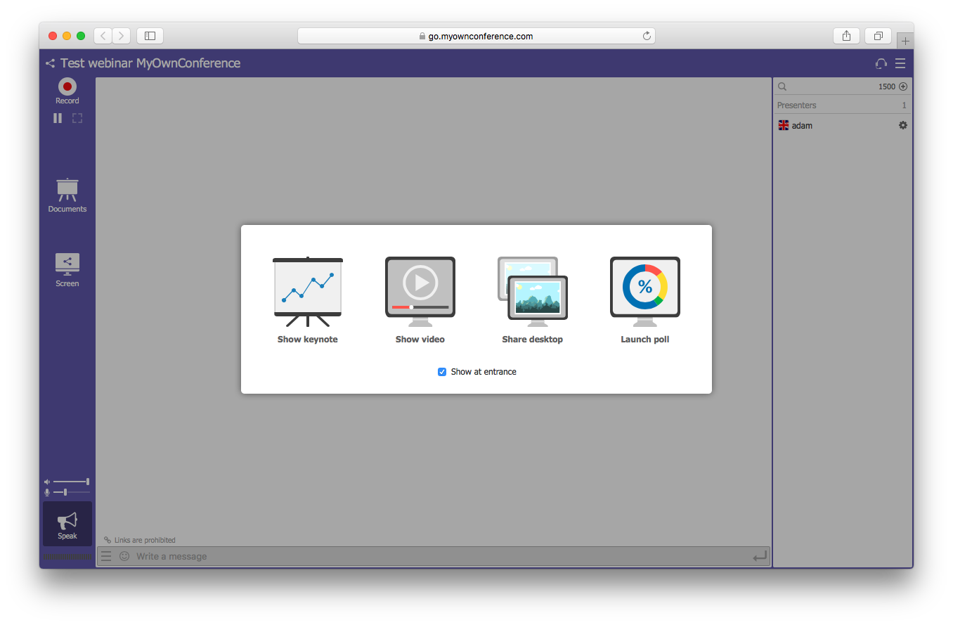 MyOwnConference features demo screenshot keynote video desktop poll webinar