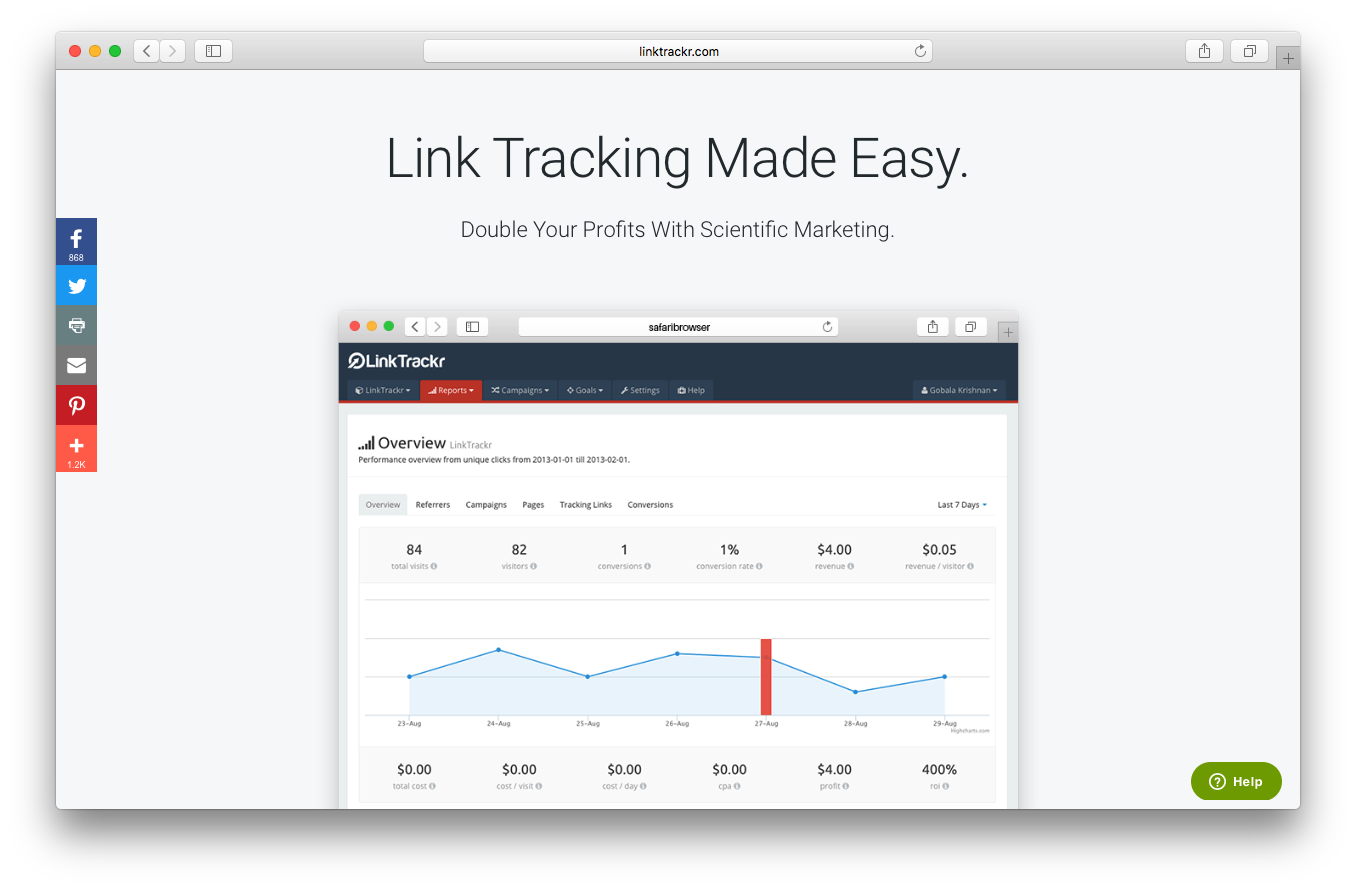 LinkTrackr homepage screenshot link tracking made easy double profits scientific marketing