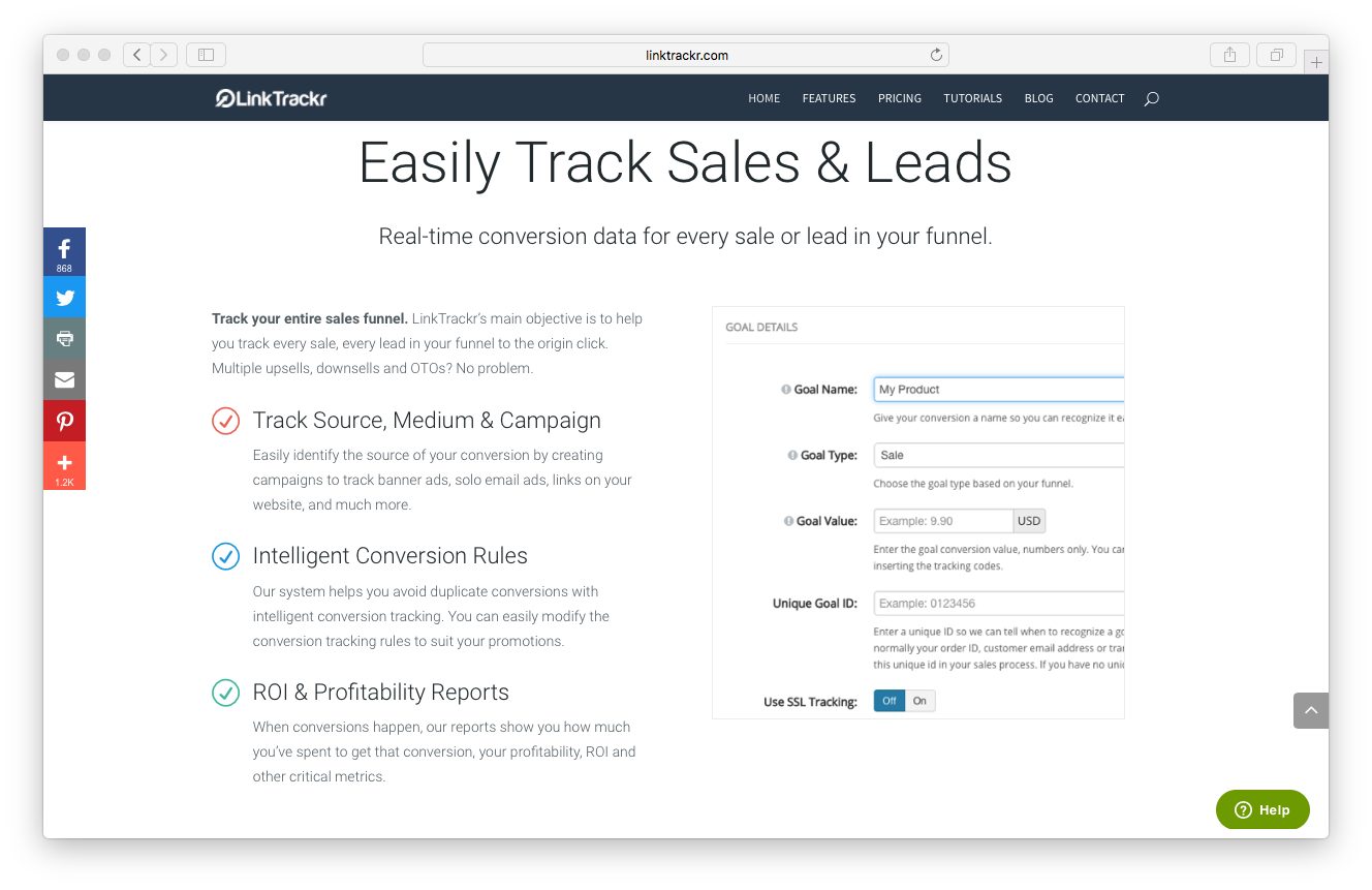 LinkTrackr homepage screenshot track sales leads funnel source medium campaign intelligent conversion ROI profitability reports