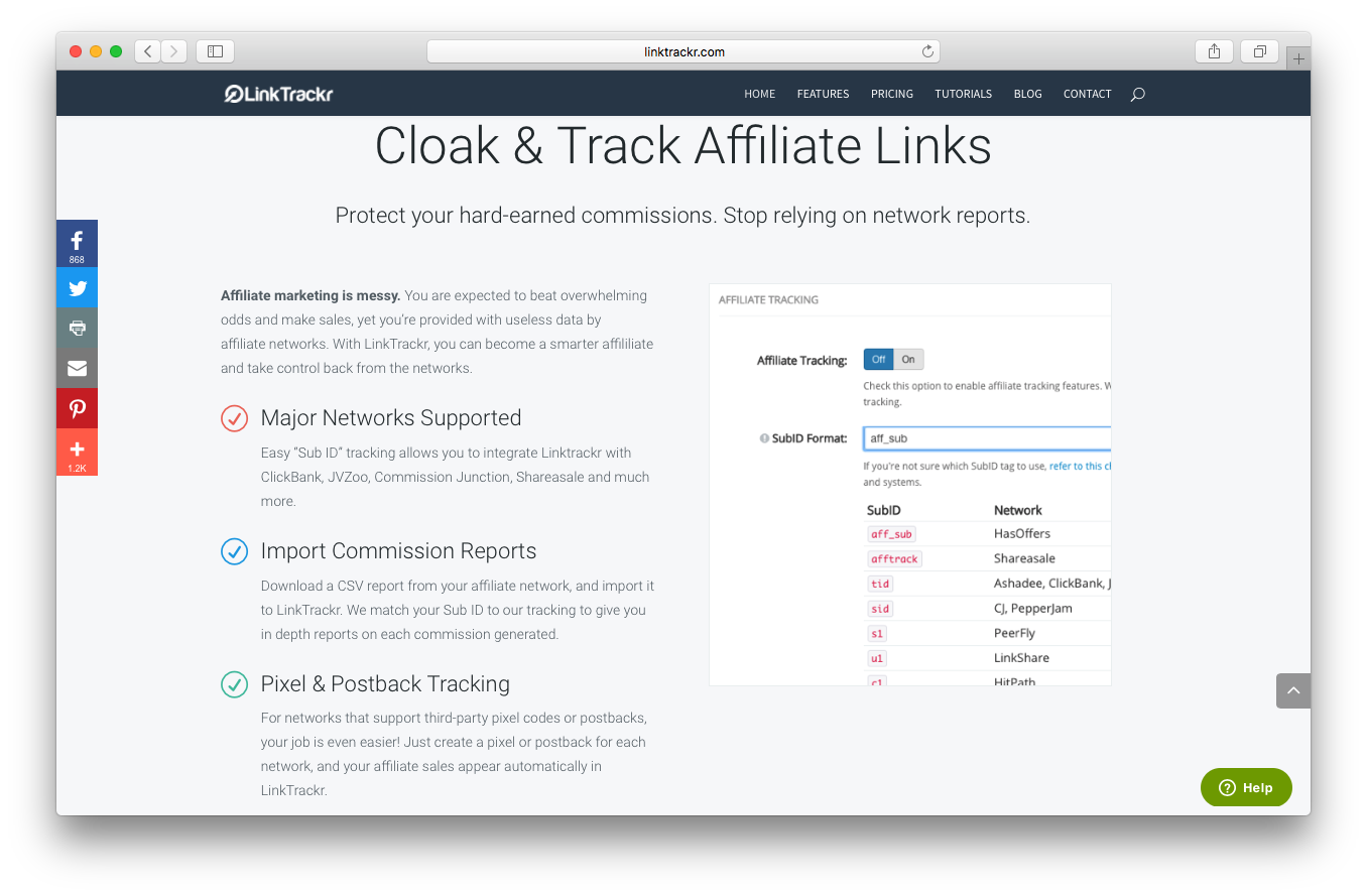 LinkTrackr homepage screenshot cloak track affiliate links protect commissions major networks reports import pixel postback tracking