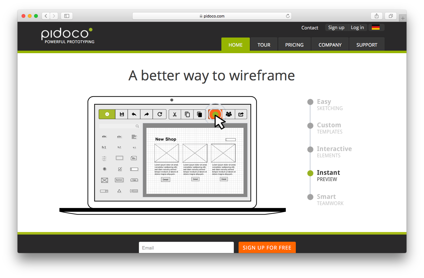 Pidoco homepage screenshot instant preview easy sketching custom templates interactive elements smart teamwork