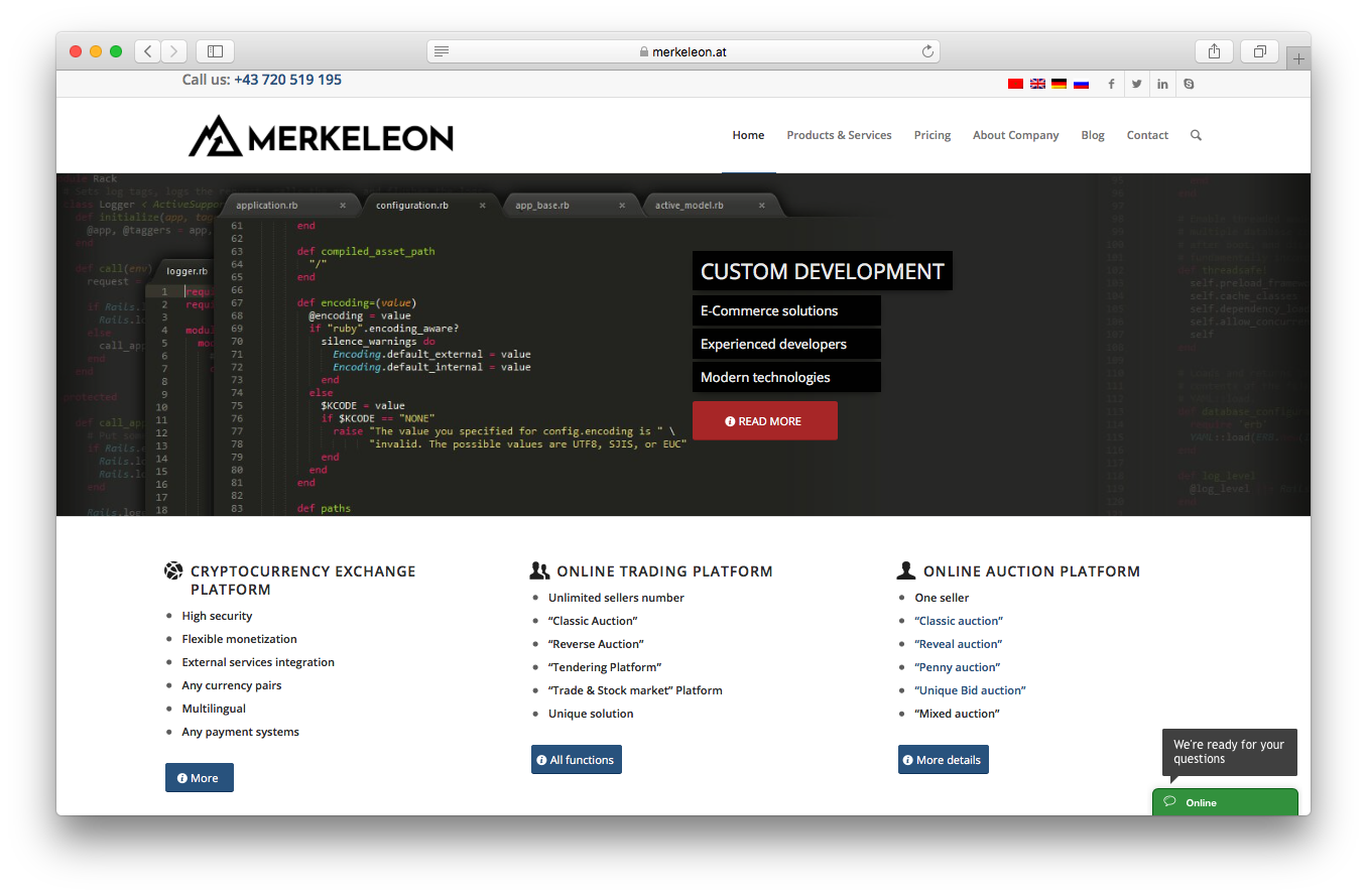 Merkeleon homepage screenshot ecommerce solutions experienced developers modern technologies cryptocurrency exchange platform online trading auction