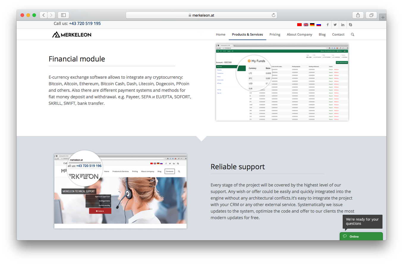 Merkeleon products and services webpage screenshot financial module reliable support