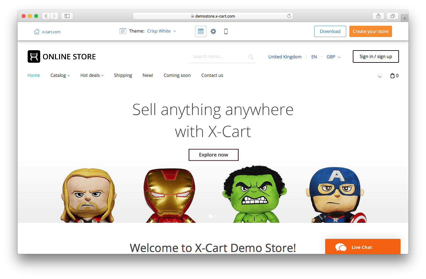 X-Cart storefront demo screenshot user