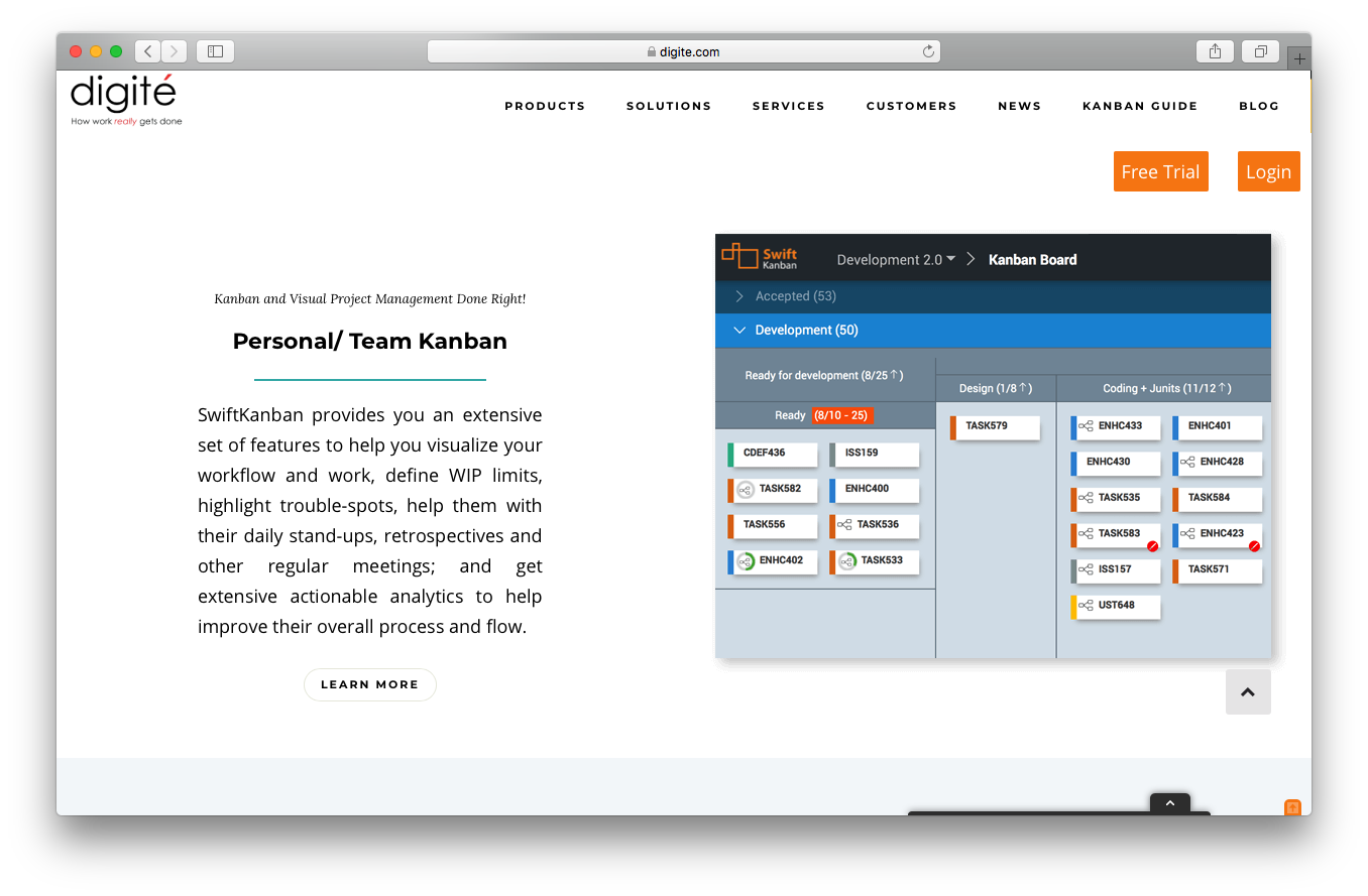 SwiftKanban features webpage screenshot personal team visual project management