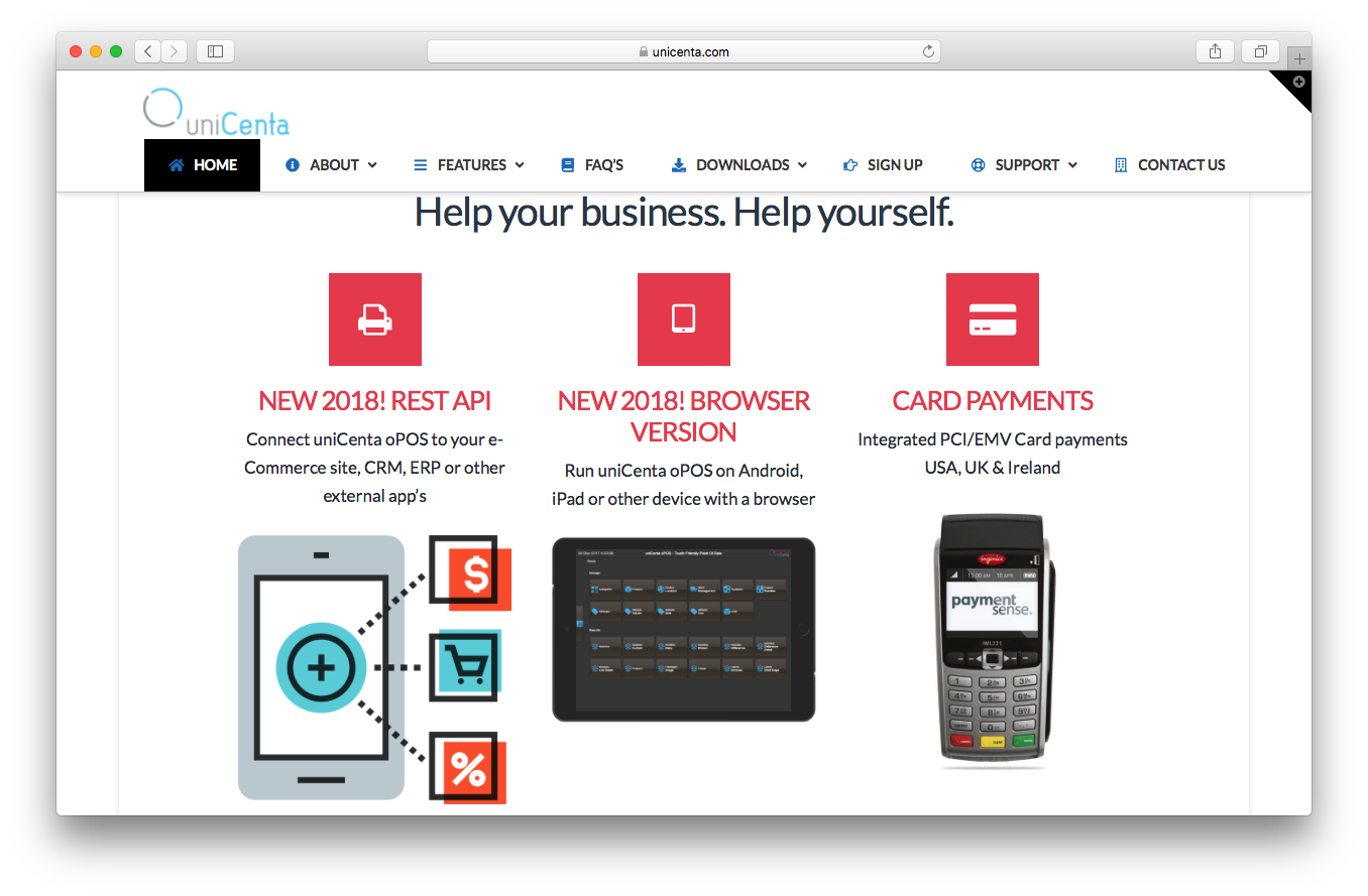uniCenta homepage screenshot rest api browser version card payments