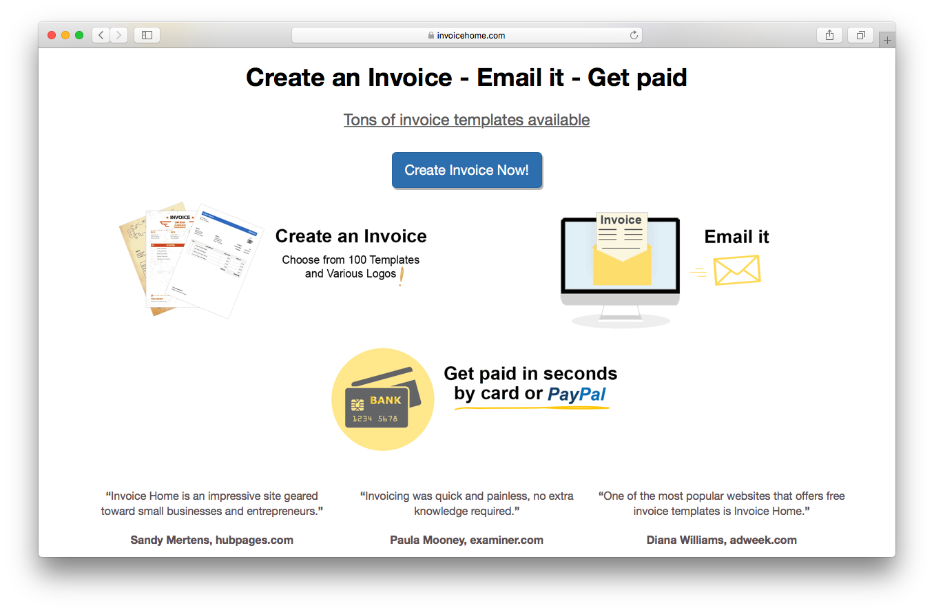 Invoice Home homepage screenshot create invoice email it get paid templates