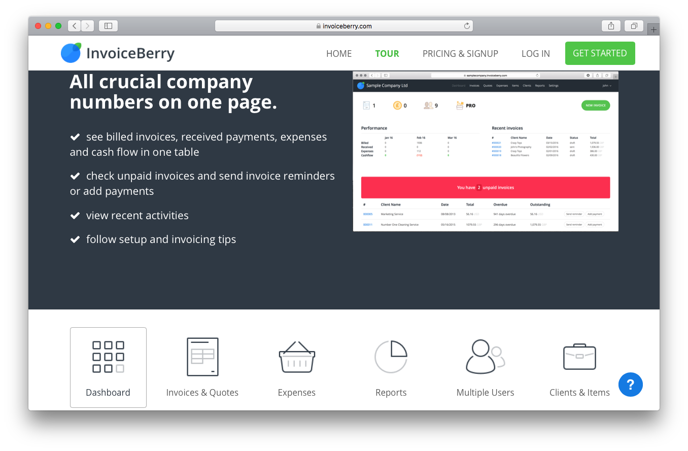 InvoiceBerry tour screenshot dashboard crucial company numbers page billed invoices received payments expenses cash flow table unpaid send reminders