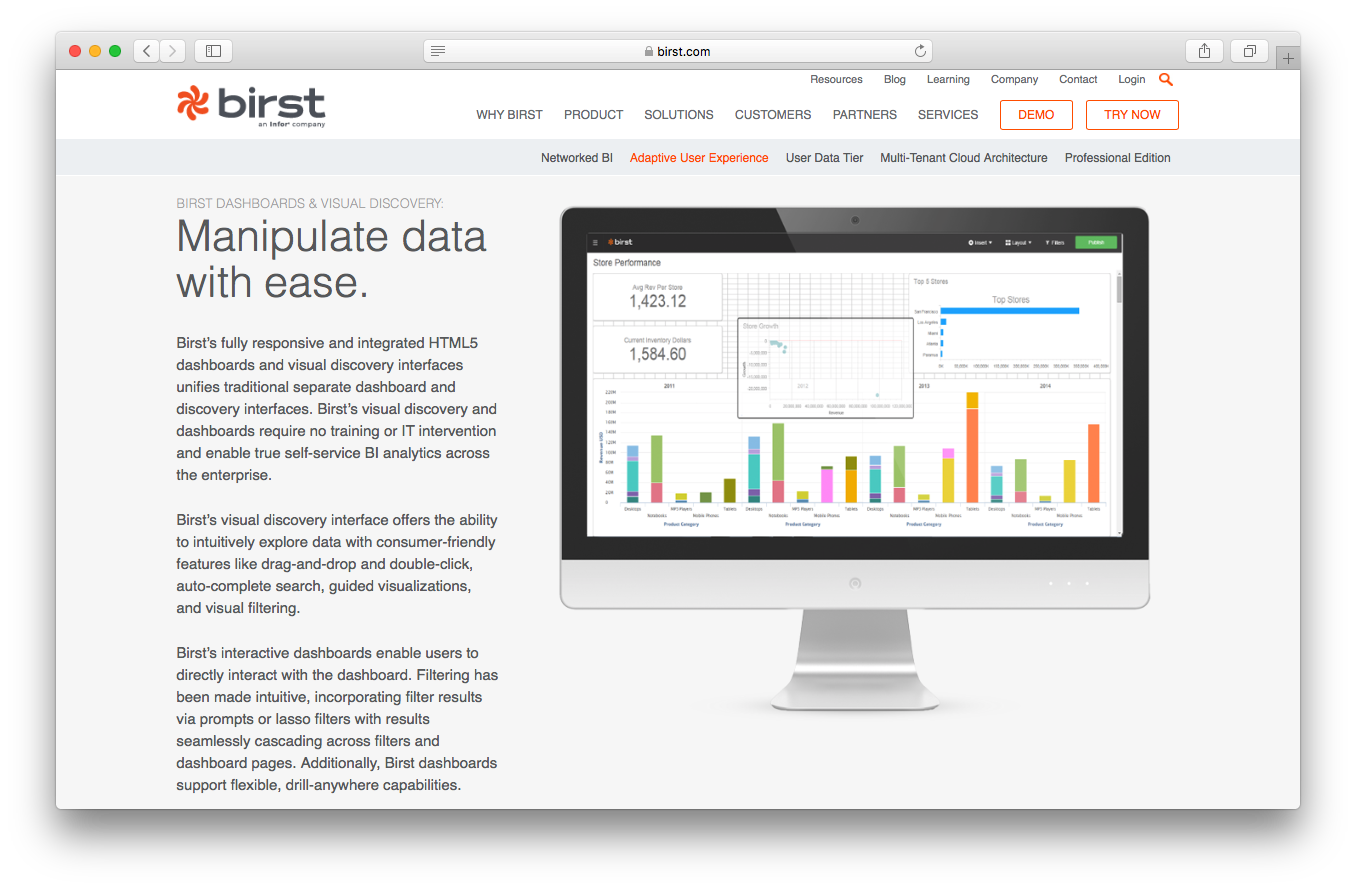 Birst product adaptive user experience screenshot business analytics manipulate data responsive integrated HTML5 dashboard visual discovery interface