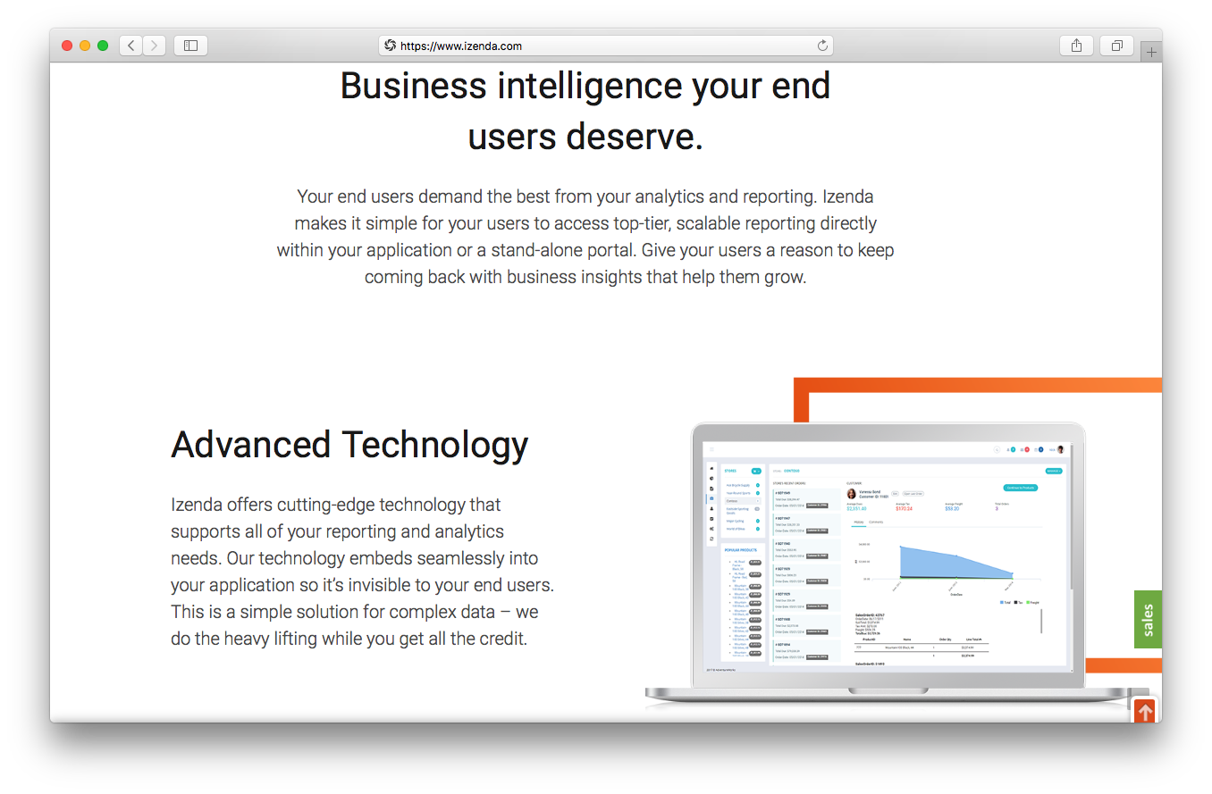 iZenda homepage screenshot business intelligence end users deserve advanced technology