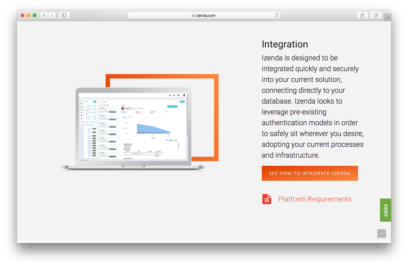 iZenda platform screenshot business intelligence quick secure integration