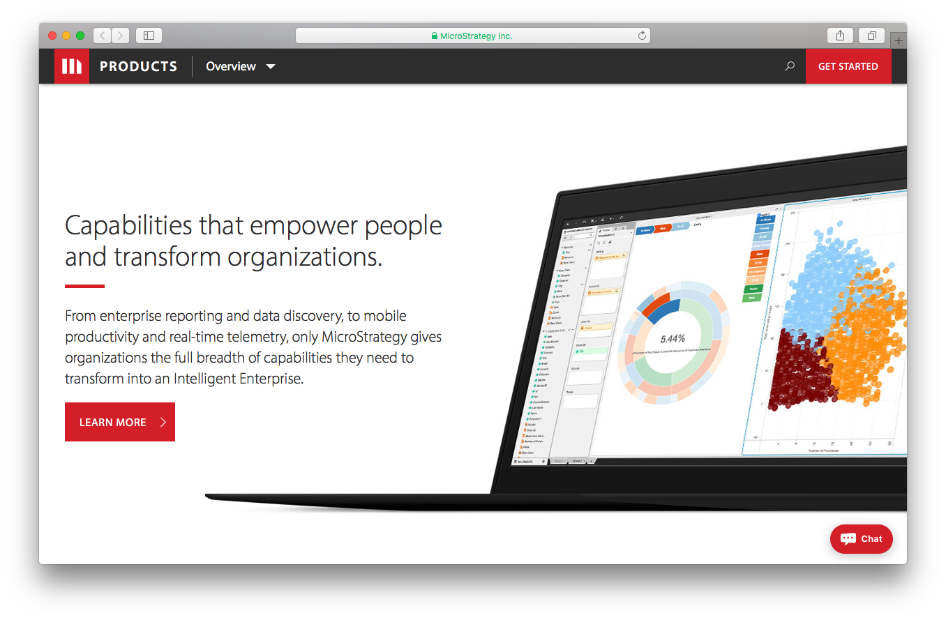 MicroStrategy products screenshot capabilities empower people transform organizations enterprise reporting data discovery mobile productivity real-time telemetry