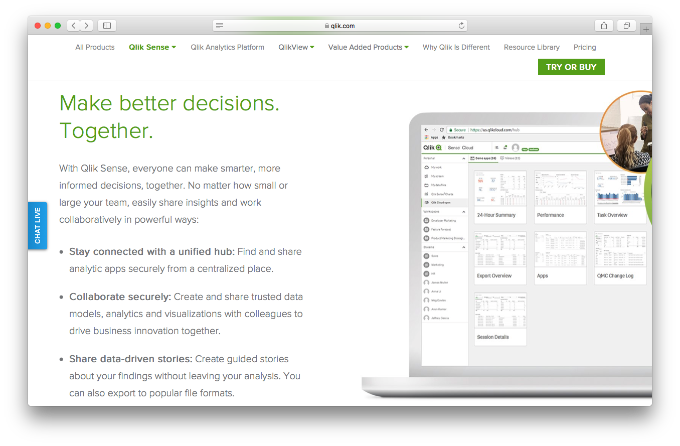 Qlik sense product webpage screenshot decisions connected unified hub collaborate securely data analysis