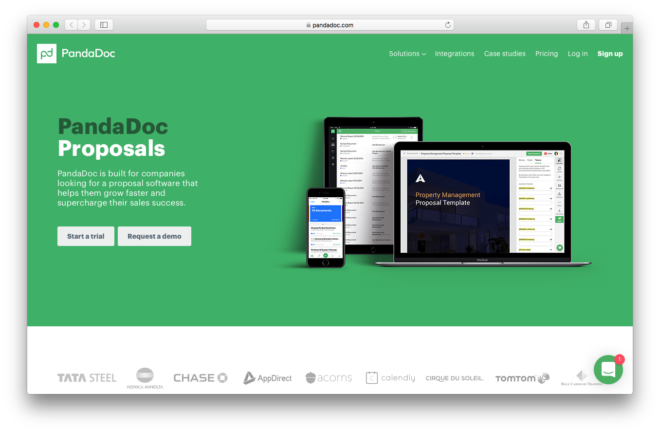 PandaDoc proposals screenshot software grow faster sales success