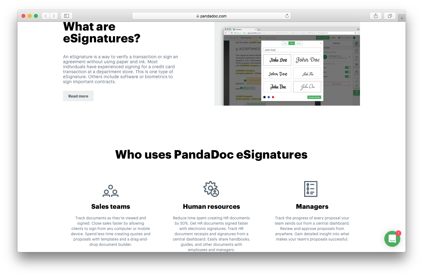 PandaDoc electronic signatures screenshot esignatures software verify transaction sales teams Human Resources managers