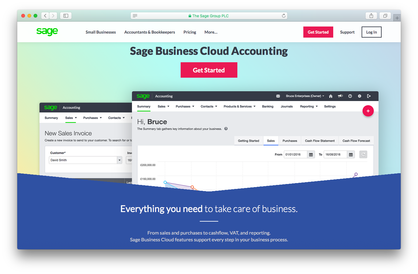 Sage one business cloud accounting account screenshot sales purchases cashflow VAT reporting
