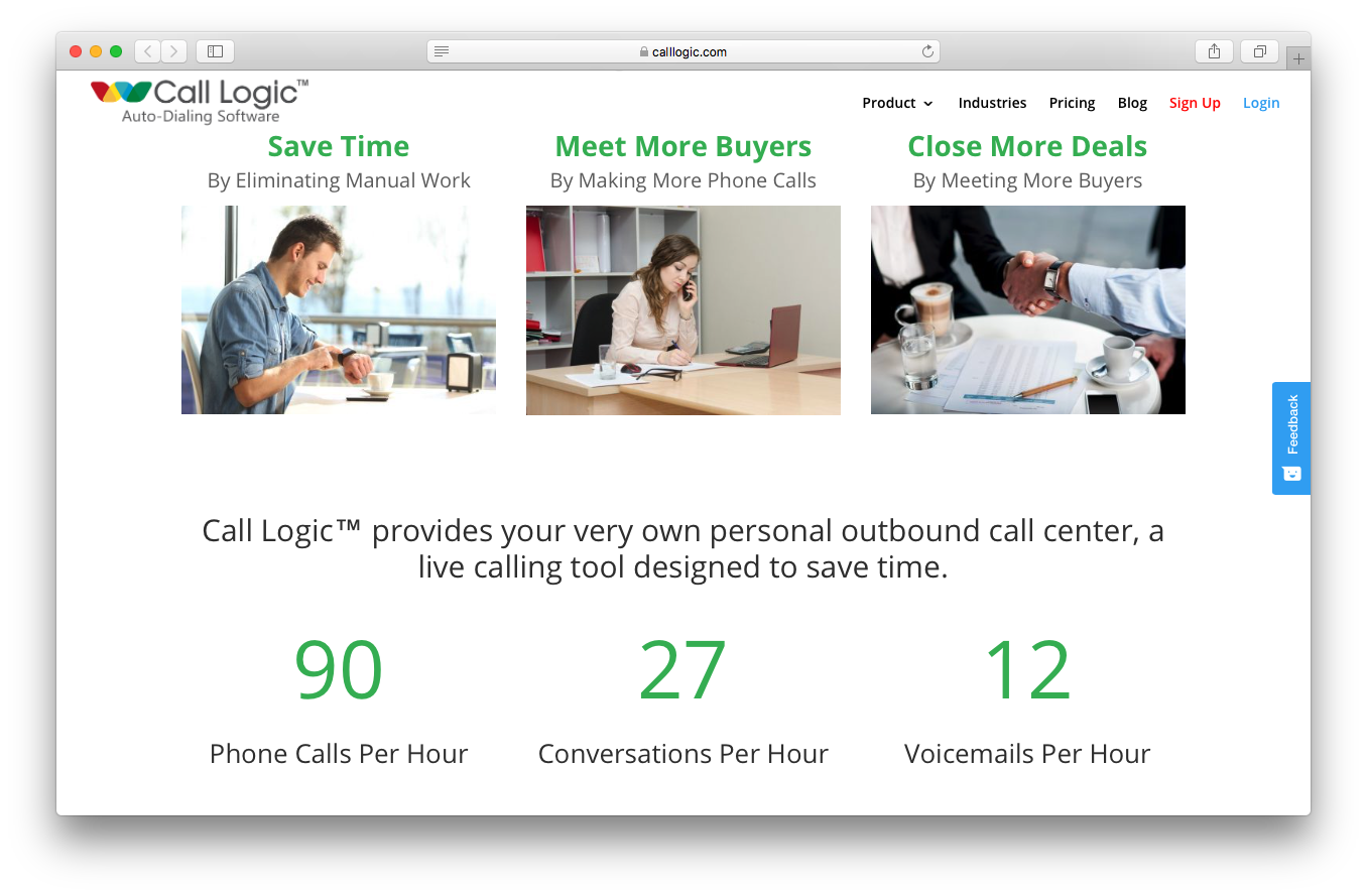 Call Logic why use screenshot save time eliminate manual work meet buyers more phone calls close deals personal outbound call center