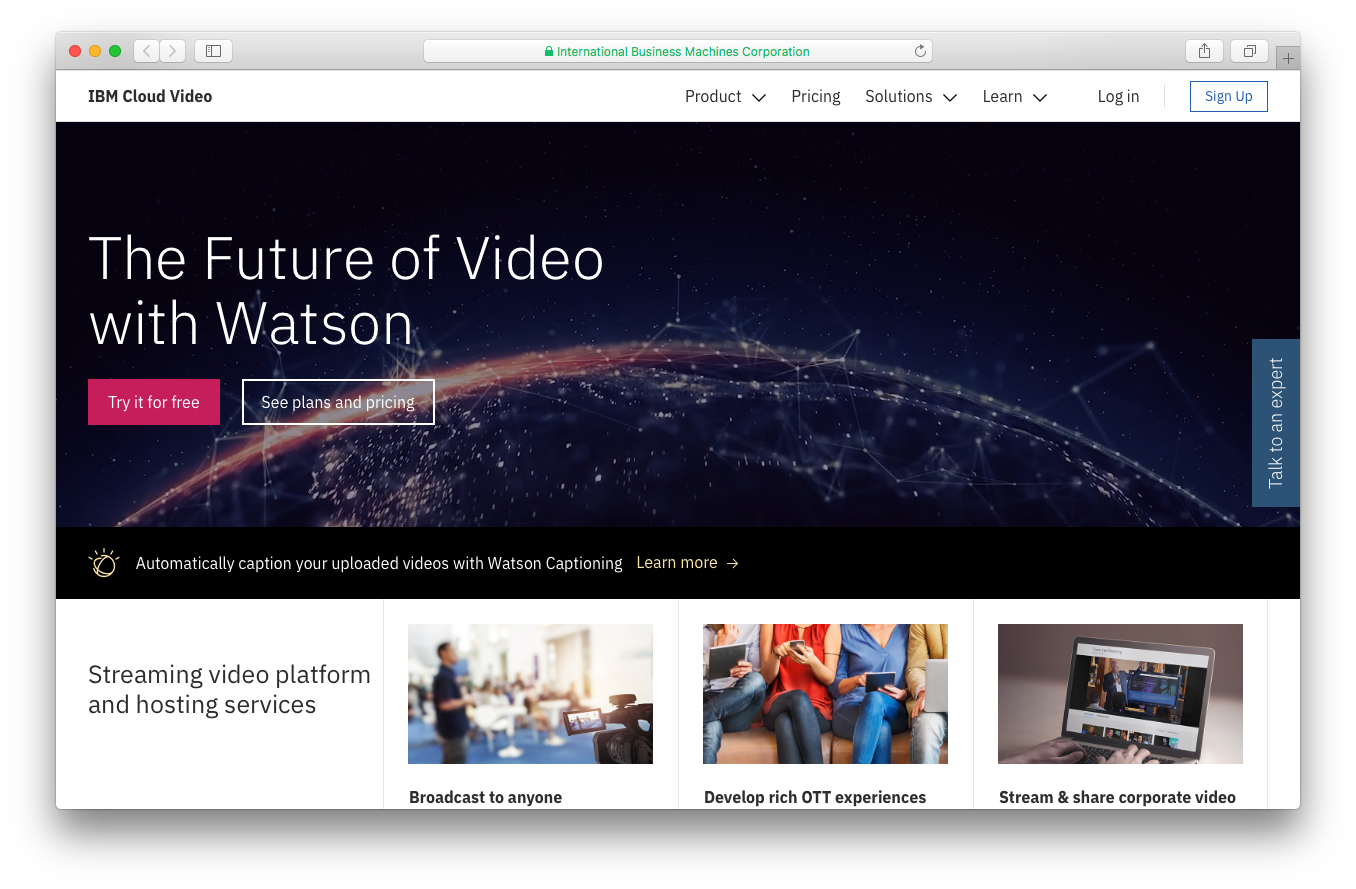 IBM Cloud video with Ustream homepage screenshot future video Watson streaming video platform hosting services broadcast anyone develop rich OTT experiences stream share corporate