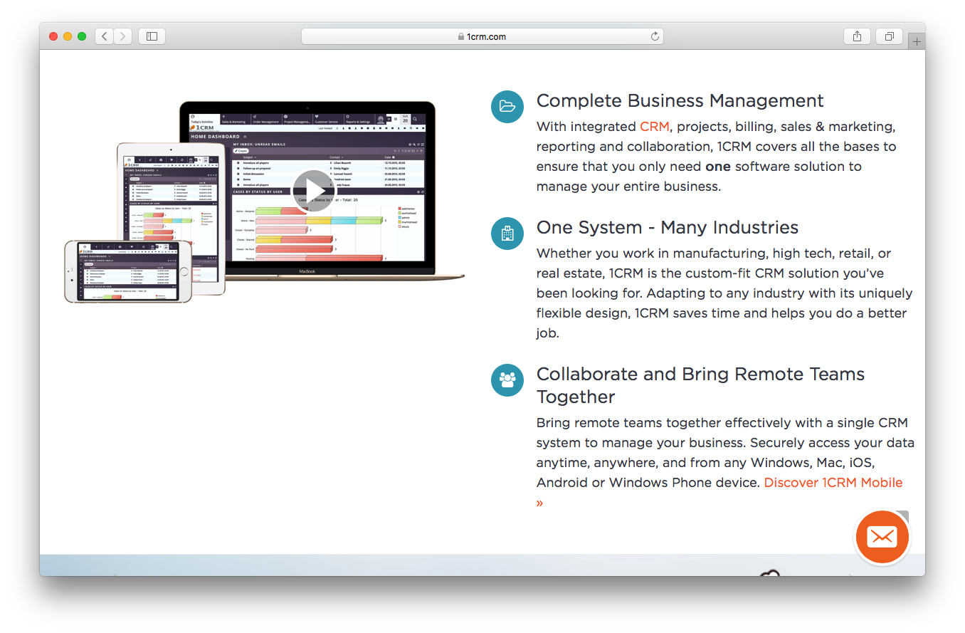 1CRM homepage screenshot complete business management one system collaborate remote teams