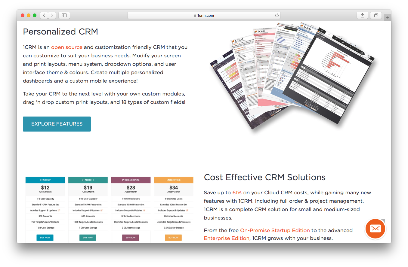 1CRM homepage screenshot personalised CRM dashboards cost effective solutions open source screen print layout menu system dropdown options user interface themes colours