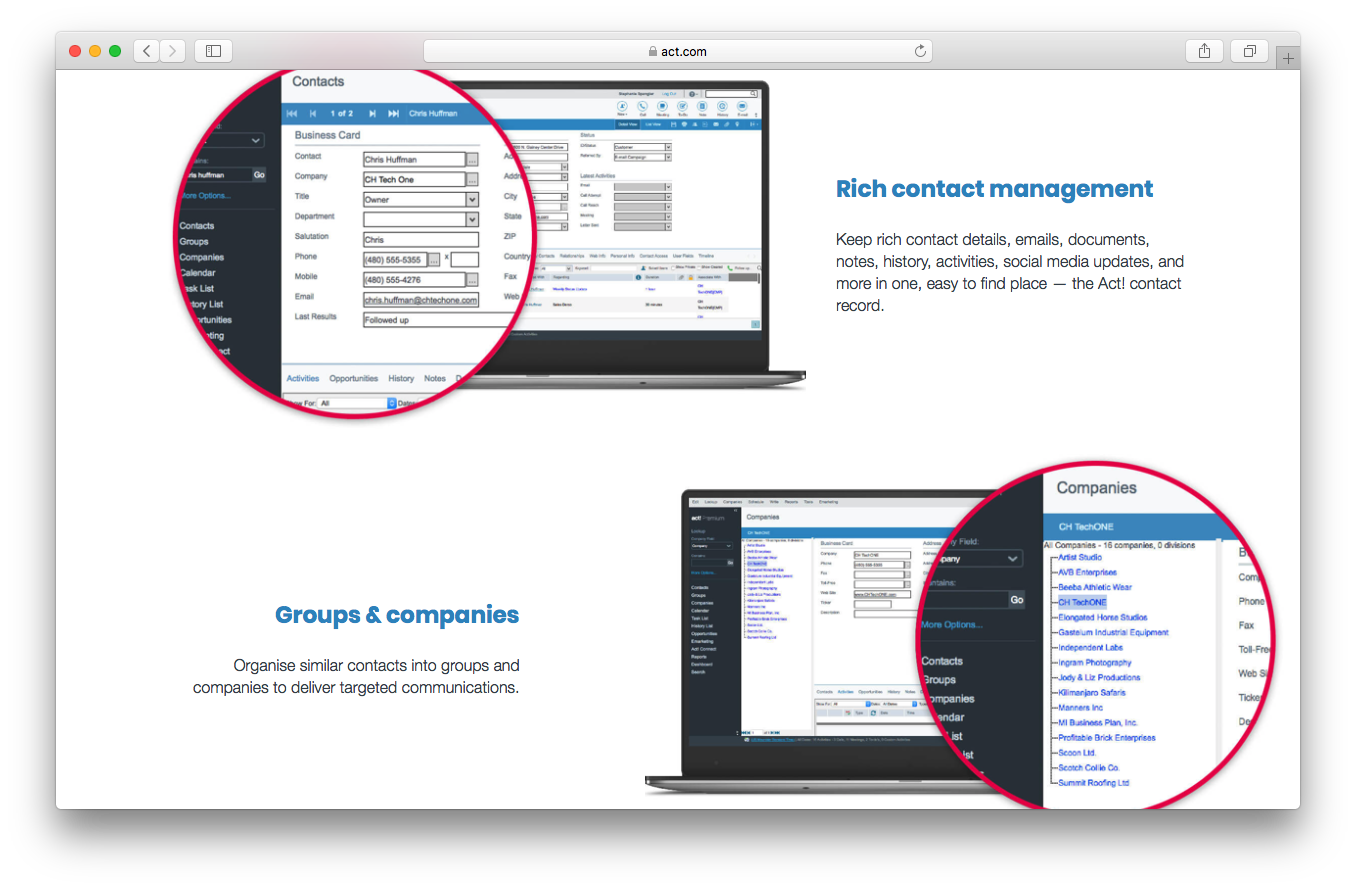 Act! Features benefits screenshot rich contact management groups companies