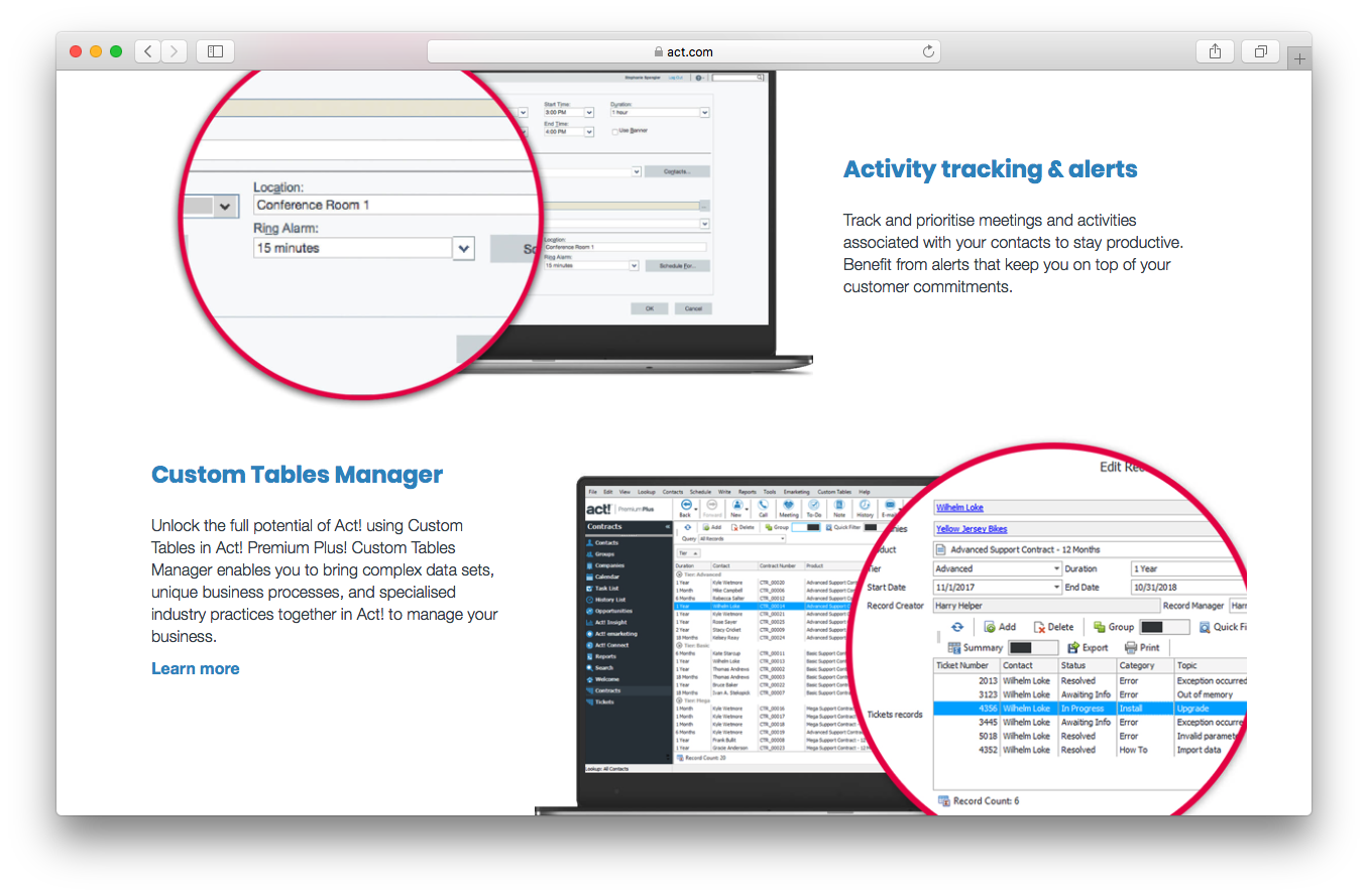 Act! Features benefits screenshot activity tracking alerts custom tables manager