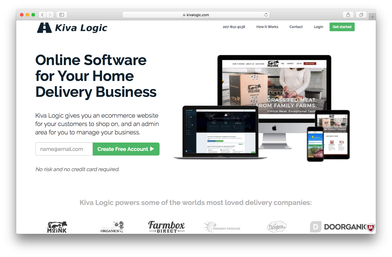 Kiva Logic homepage screenshot online software home delivery business ecommerce website customers shop admin manage