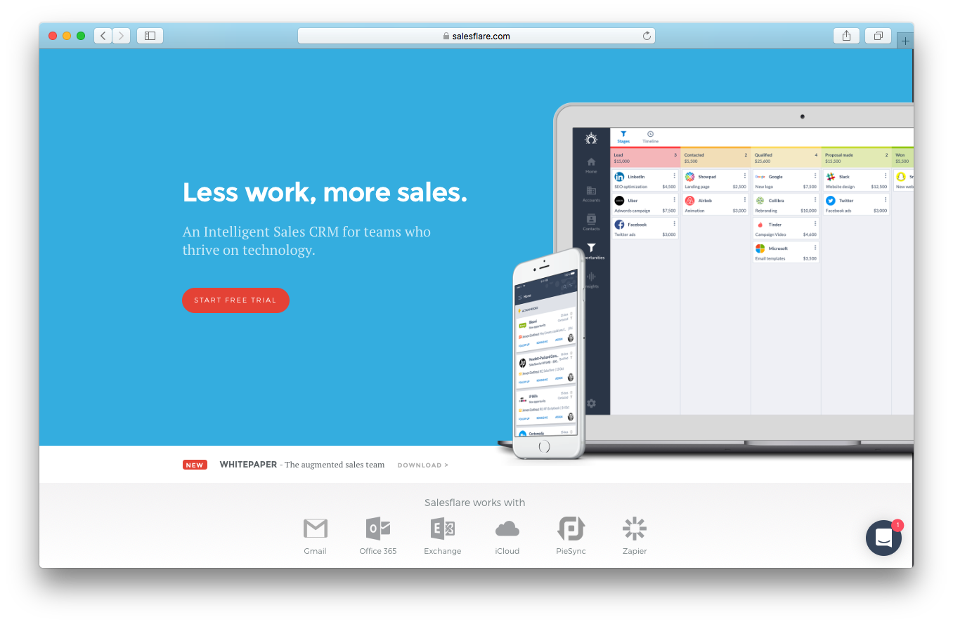 Salesflare homepage screenshot less work more sales intelligent cam teams thrive technology free trial