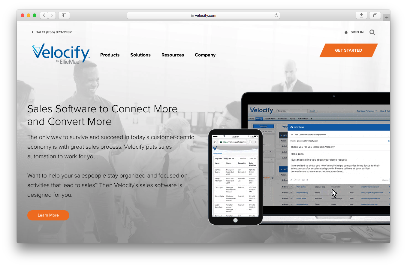 Velocify homepage screenshot sales software connect convert more customer salespeople automation