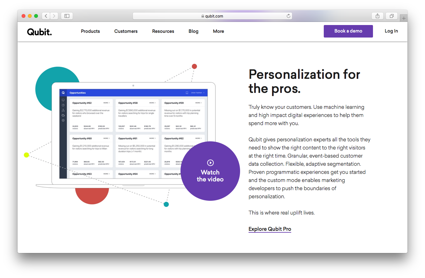 Qubit pro homepage screenshot personalization customers machine learning high impact digital experiences granular event based data collection flexible adaptive segmentation