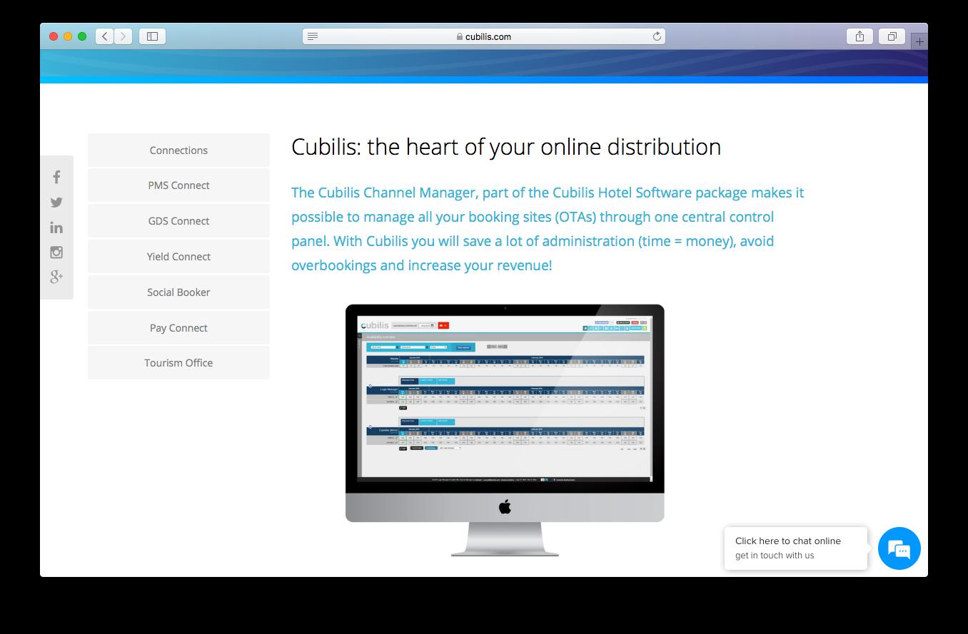 Cubilis channel manager screenshot online distribution hotel software package