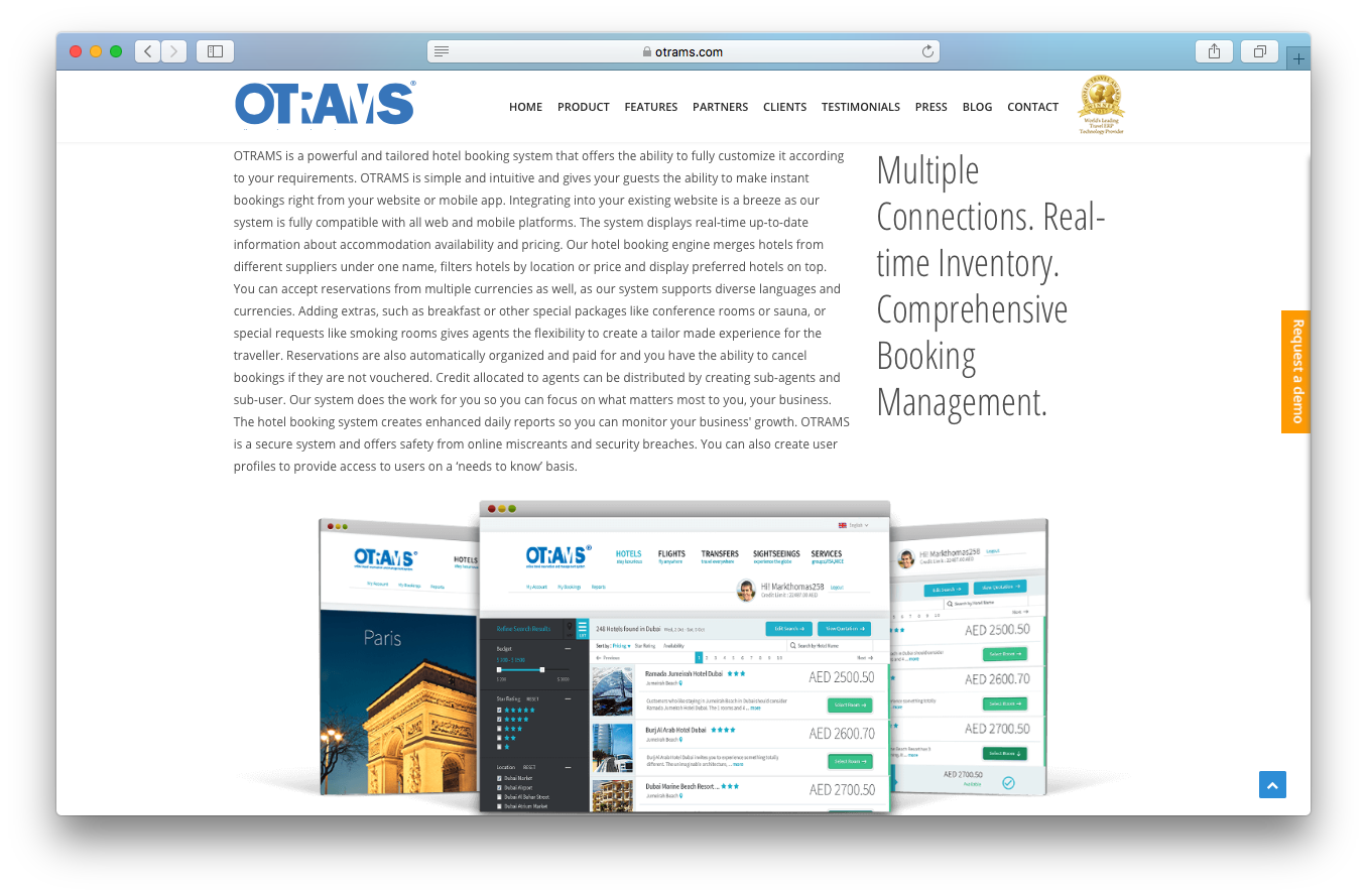 OTRAMS features screenshot hotel booking system multiple connections real time inventory comprehensive booking management