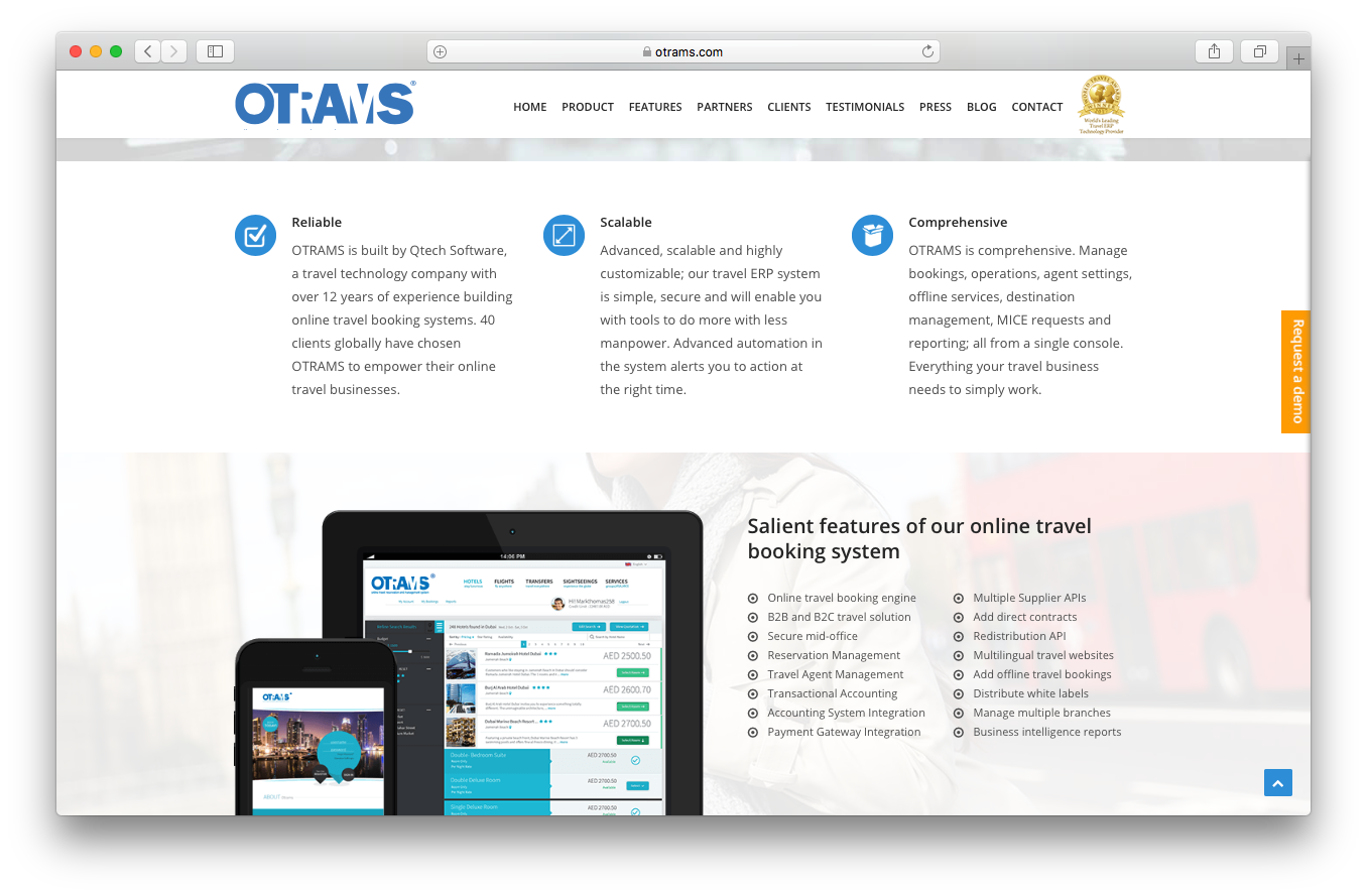 OTRAMS homepage screenshot eligible scalable comprehensive salient features online travel booking system
