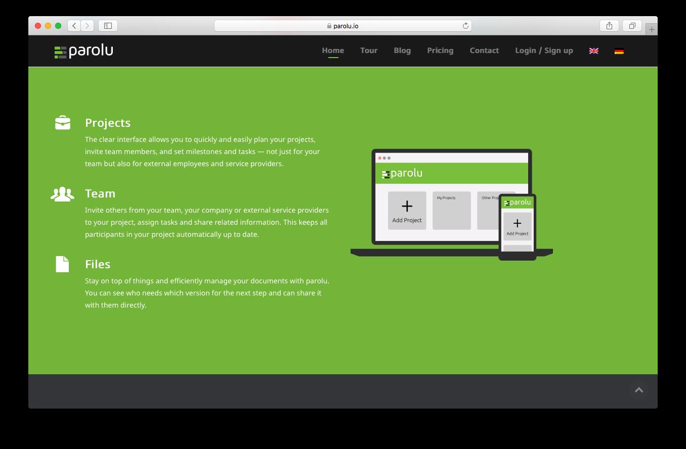 Parolu homepage screenshot plan projects invite team share files