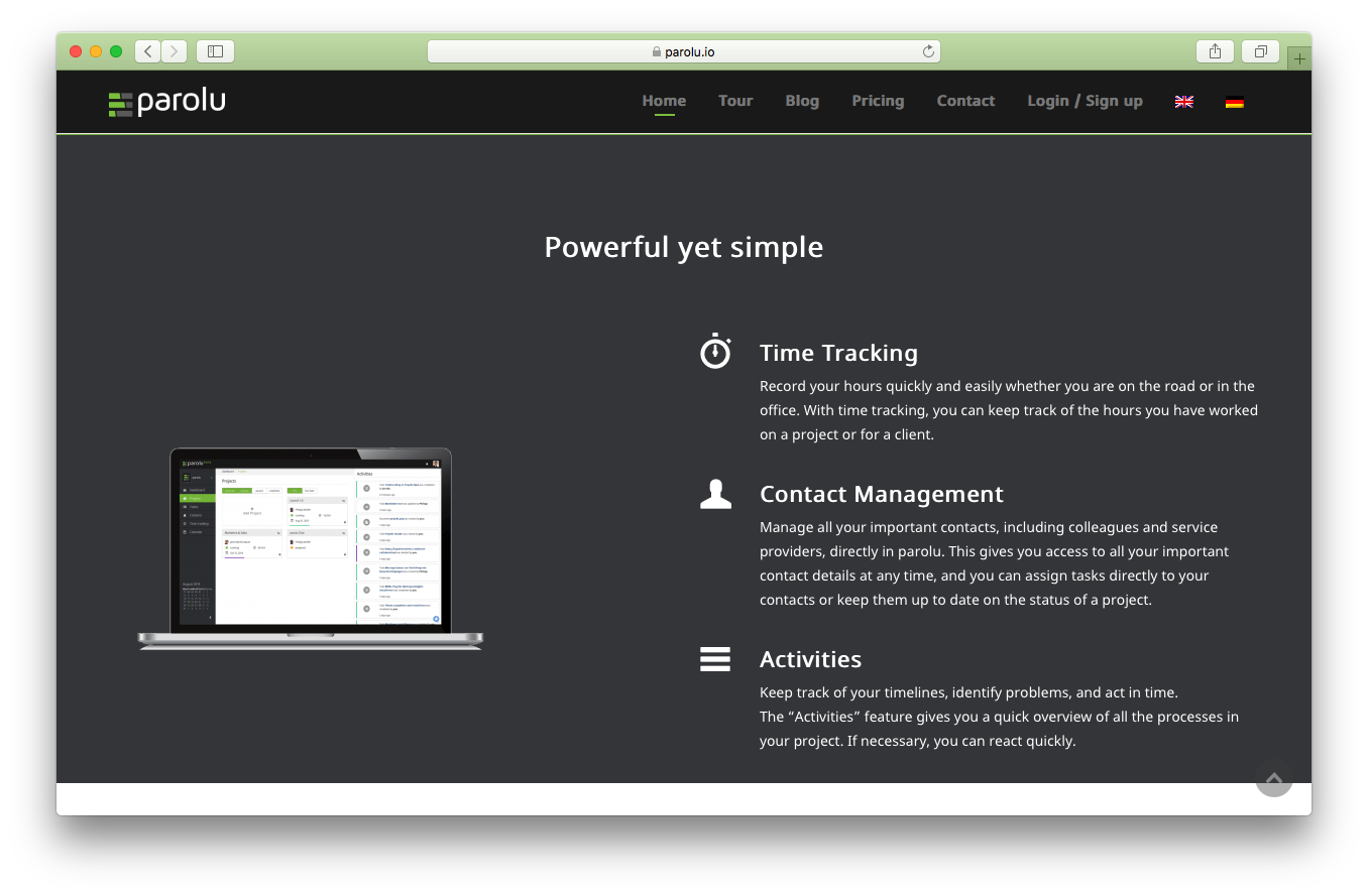 Parolu homepage screenshot powerful simple time tracking contact management activities