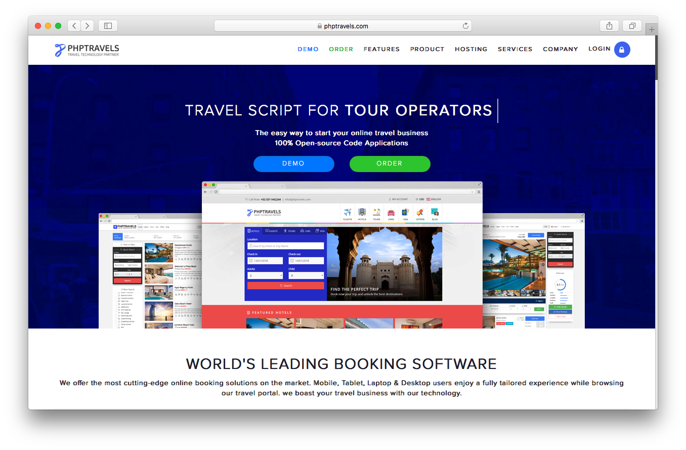PHP Travel homepage screenshot travel script online business open source code booking software