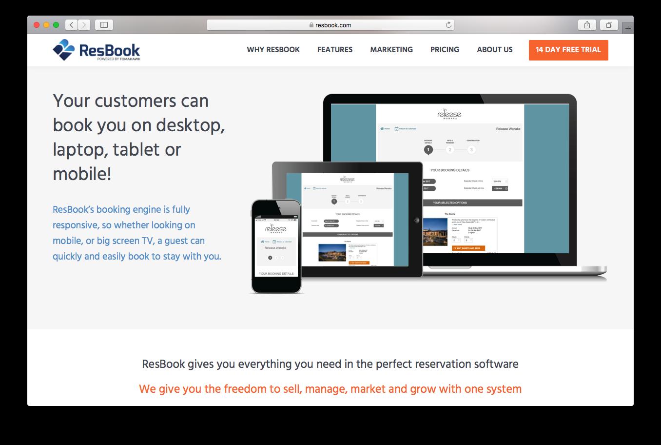 Resbook homepage screenshot customers book booking engine desktop laptop mobile tablet reservation software