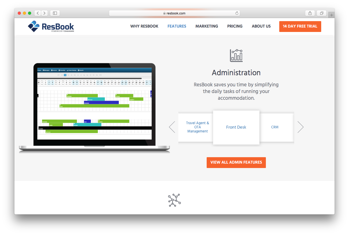 Resbook features screenshot administration front desk CRM travel agent OTA management admin features