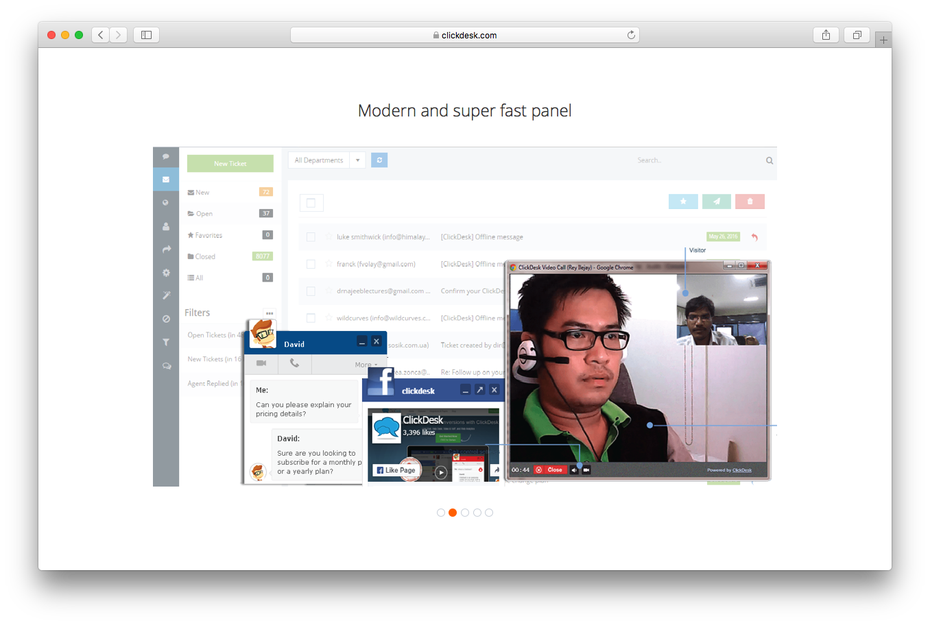 ClickDesk homepage screenshot 2 modern and super fast panel message video chat