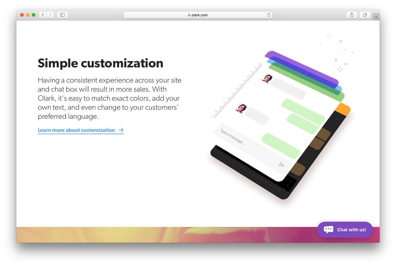 Olark features screenshot simple customisation chat box sales match colors add text change customer language