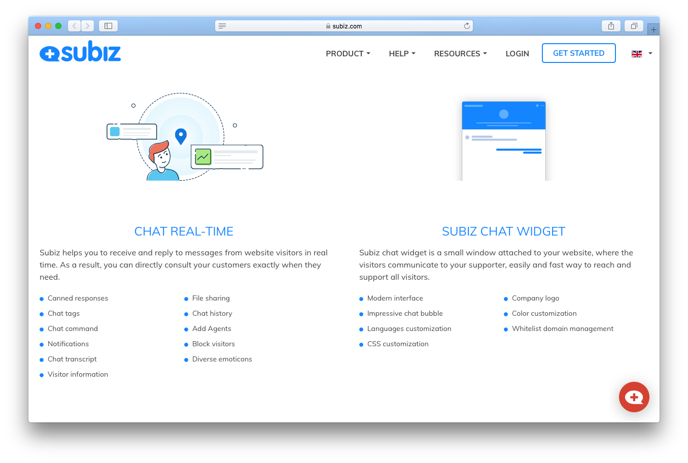 Subiz live chat screenshot real time widget Canned responses File sharing Chat tags Chat history Chat command Add Agents Notifications Block visitors Chat transcript Diverse emoticons Visitor information